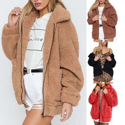 Womens Teddy Bear Thick Warm Fleece Jacket Coat Loose Zip Up Outwear Tops Casual