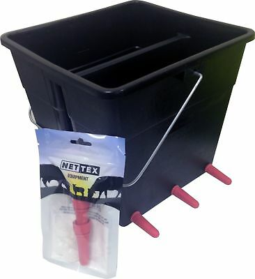 Nettex Lamb Milk Feeding Bucket 4 or 6 Teat - Feeder Bucket slots over hurdle
