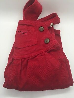 Vtg Guess Denim Overalls Red Denim Snap Crotch Baby Toddler 3 Months
