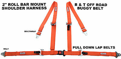 "Buggy Seat Belt 4 Point 2"" Harness Orange 30 Colors To Choose From"