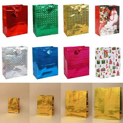 Luxury Holographic Paper Gift Bag Present Carrier Party Christmas Wedding Shiny