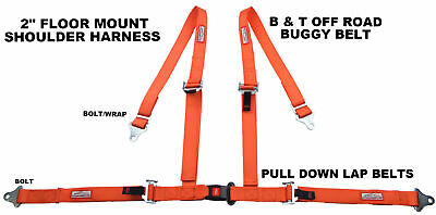 "Off Road 4 Pt Seat Belt Race 2"" Harness Pull Down Lap Belts Floor Mount Orange"