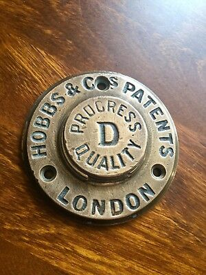 Hobbs & Co Patents London Progress D Quality Bronze Safe Escutcheon Pre 1900