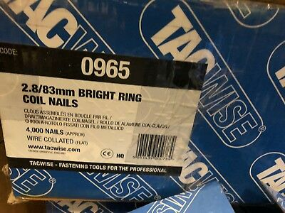 Tacwise code 0965. 2.8 x 83mm Flat Wound Bright Ring Coil Nails. 15 Degree