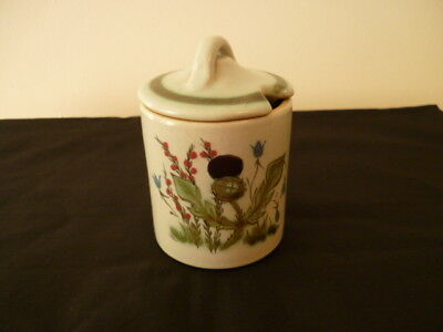 A Vintage Buchan Pottery Jam Pot With Lid - Thistle Pattern