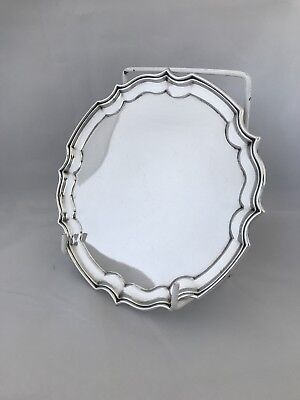 Solid Sterling Silver 4 Footed Waiter Or Tray 1986 Sheffield