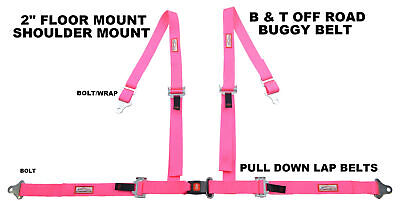 Off Road 4 Point Seat Belt Race Harness Pull Down Lap Belts Floor Mount Hot Pink