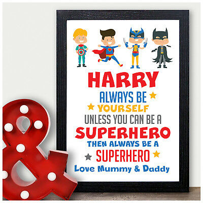 Superhero Gifts for Boys Personalised SUPER HERO Christmas Gifts Him Son Boys He