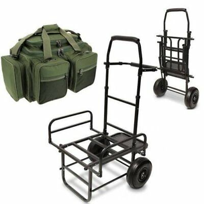 NEW Fishing Dynamic Fold Flat Large Base Coarse Trolley + Green XPR Carryall Bag