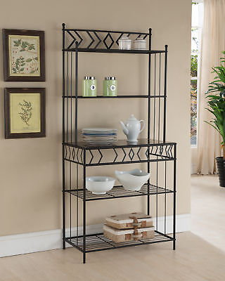 Kings Brand Furniture Black Metal With Marble Finish 5-Tier Bakers Rack