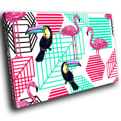 Pink Blue Flamingo Toucan Funky Animal Canvas Wall Art Large Picture Prints