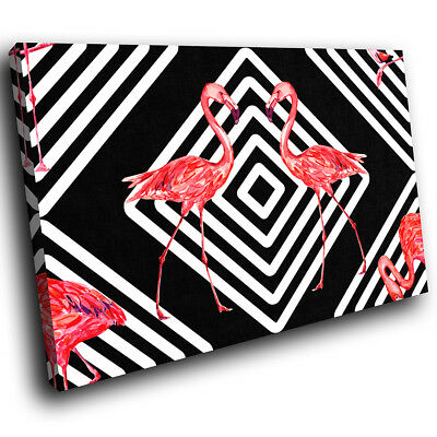 Black White Flamingo Pink Funky Animal Canvas Wall Art Large Picture Prints