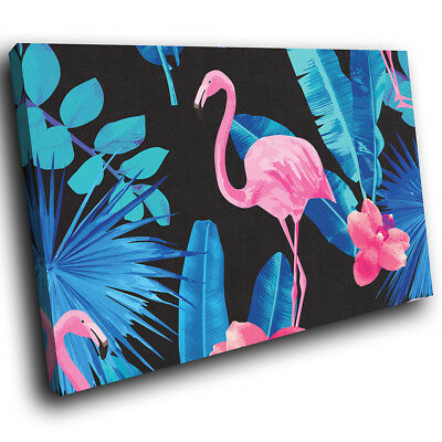 Blue Floral Leaf Flamingo Funky Animal Canvas Wall Art Large Picture Prints
