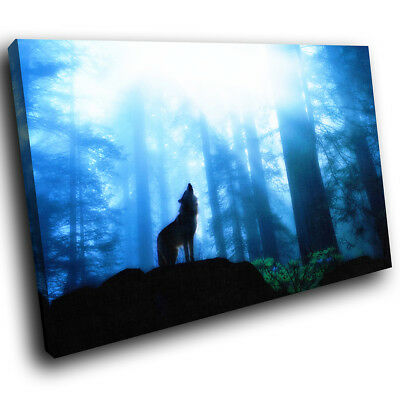 Blue Black Forest Wolf Purple  Animal Canvas Wall Art Large Picture Print