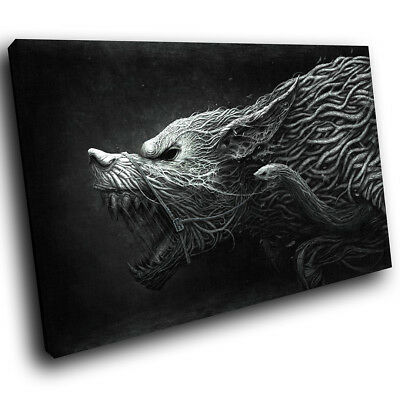 Black White Grey Wolf  Funky Animal Canvas Wall Art Large Picture Prints