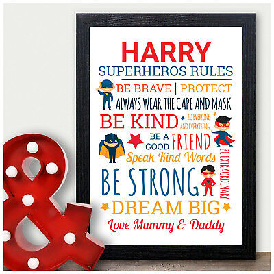 SUPERHERO RULES PERSONALISED Birthday Gifts for Boys Son Him Male
