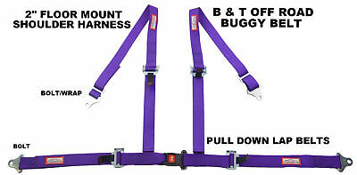 "Racerdirect Purple 4 Point 2"" Seat Belt Harness Pull Down Lap Belts Floor Mount"