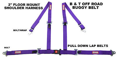 Off Road 4 Point Seat Belt Race Harness Pull Down Lap Belts Floor Mount Purple