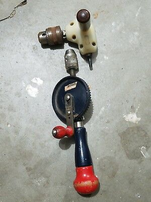 Stanley Hy-Lo H1220 Vintage Hand Drill and Craftsman 90 Degree Angle Drill Head
