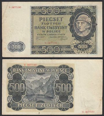 Polen - Poland Generalgouvernement 500 Zlotych 1940 Ros.578 Pick 98 F/VF (3/4)