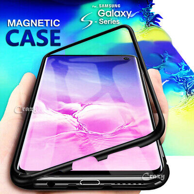 For Galaxy S10E S10 S8 S9 Plus Note 8 9 Magnetic Metal Tempered Glass Case Cover