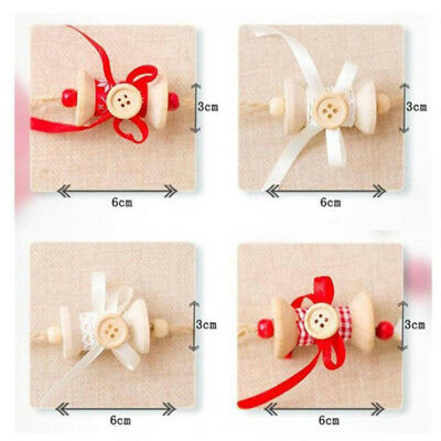 Christmas Tree Hanging Wooden Buttons Bows Xmas Ornament Home Party Decor Z