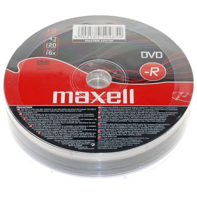 10 x Maxell DVD-R 4.7Gb 16x 120min Blank Recordable DVDs in Shrink Wrap - NEW
