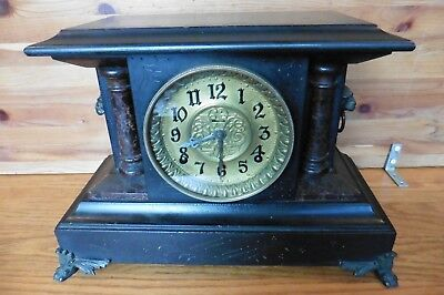 Mantle Clock Vintage mechanical wind up Antique wooden w/ brass lions claw feet