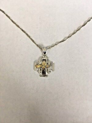 """.925 Sterling Silver Jerusalem Cross Necklace with 21"""" Chain Free FAST Shipping"""