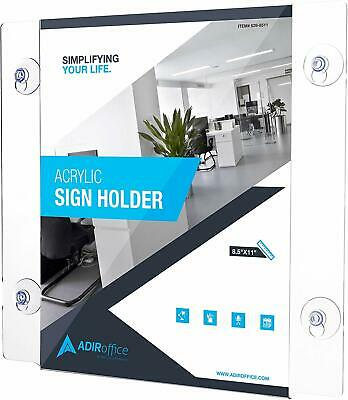 AdirOffice Clear Acrylic Window Sign Holder with Suction Cups 8.5in x 11in