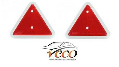 X2 Warning Red Triangle Reflectors Caravans Trailers Fence Post Screw Fit Mp18B