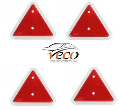 X4 Warning Red Triangle Reflectors Caravans Trailers Fence Post Screw Fit Mp18B