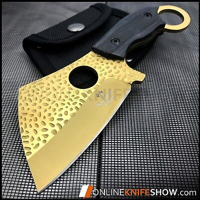 Straight Edge Fixed Blade GOLD Cleaver AXE TANTO Hunting Knife Karambit NEW Wood