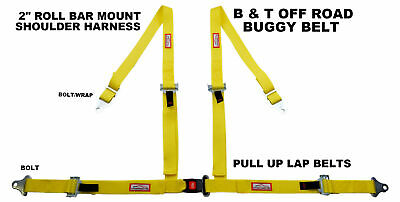 Four Point Seat Belt Race Harness Pull Up Lap Belts Roll Bar Mount Yellow