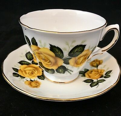 Royal Vale - Bone China Tea Cup and  Saucer with Yellow Roses and Gold Trim