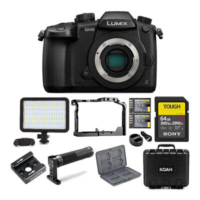 "Panasonic GH5 Lumix 4K Mirrorless Camera, Wi-Fi + BT,3.2"" LCD 64GB Video Bundle"