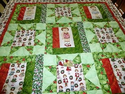 Handmade Christmas Paper Doll Quilt 2 by Arlene's Quilts
