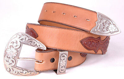 Vtg NOCONA Leather Belt-Conchas-Tooled Stamped-Western-Stitching-Metal Tip-