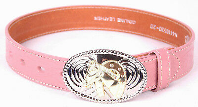 NOCONA Leather Belt-Youth Girls-Tooled Stamped-Western Floral-Stitching-Buckle