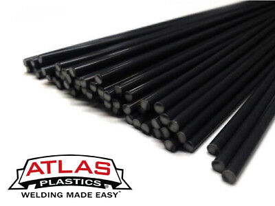 HDPE Polyethylene Plastic Welding Repair Rods-20ft, 20pk (12in x 3mm Black)