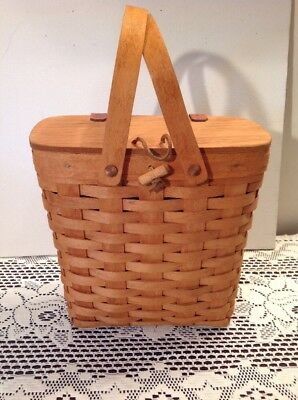 Longaberger 1994 Tall Key Basket w  Lid Swing Handles & Protector