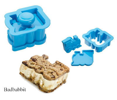 NEW Kitchen Craft Train Shaped Ice Cream Sandwich Mould Blue Stocking Filler