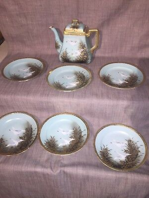 Nippon FLYING GEESE Jeweled Tea Pot And 6 Dessert Plates. Set