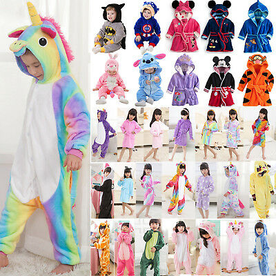 Kids Boys Girls Kigurumi Pajamas Set Bathrobe Jumpsuit Cosplay Costume Nightwear