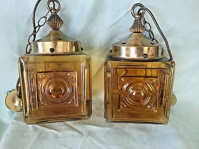 Pair of Vintage Amber Glass and Brass Matching Hanging Hall Lanterns