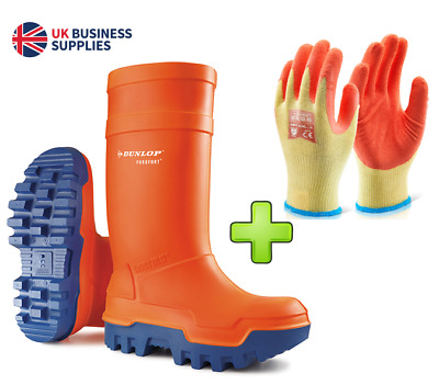 "Dunlop ""Purofort Thermo+"" Safety Wellies, Orange {Thermal to -50}, & Free Gloves"