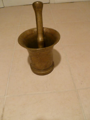 Antique Solid Brass Vintage Mortar & Pestle Heirloom