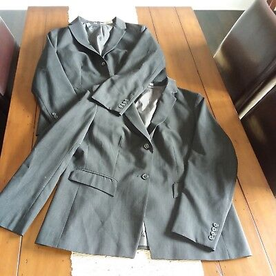 TWO (2) DOC & AMELIA by CINTAS WOMEN'S DARK GRAY WASHABLE CAREER BLAZER SZ  16W