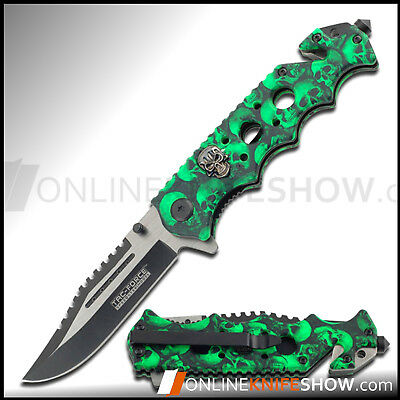 GREEN SPRING TACTICAL RESCUE Assisted Open Folding Blade Pocket Knife PUNISHER