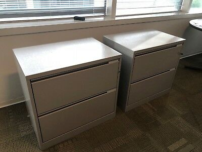 """2 DRAWER LATERAL SIZE FILE CABINET by HERMAN MILLER MERIDIAN w/LOCK&KEY 30""""W"""